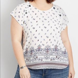 Maurices Top | White with Paisley Print | Sz. 1X